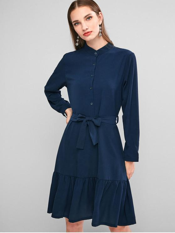 shops Button Placket Flounce Hem Belted Dress - MIDNIGHT BLUE XL