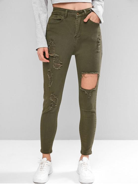 trendy Ripped Zipper Fly Skinny Jeans - CAMOUFLAGE GREEN M