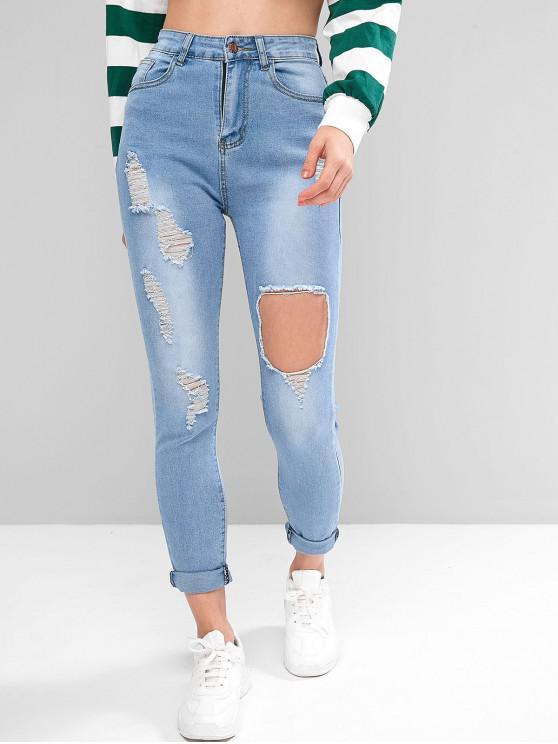 women's Ripped Zipper Fly Skinny Jeans - DENIM BLUE L