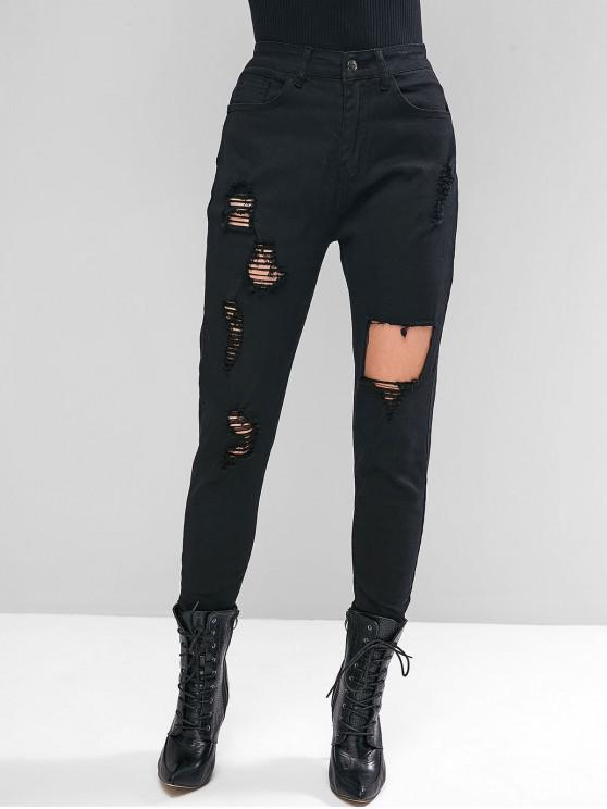 lady Ripped Zipper Fly Skinny Jeans - BLACK L