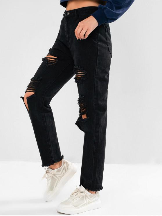 hot Ripped Frayed Pocket Pencil Boyfriend Jeans - BLACK XS
