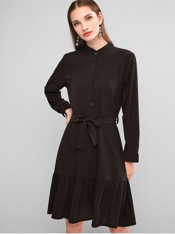 hot Button Placket Flounce Hem Belted Dress - COFFEE XL