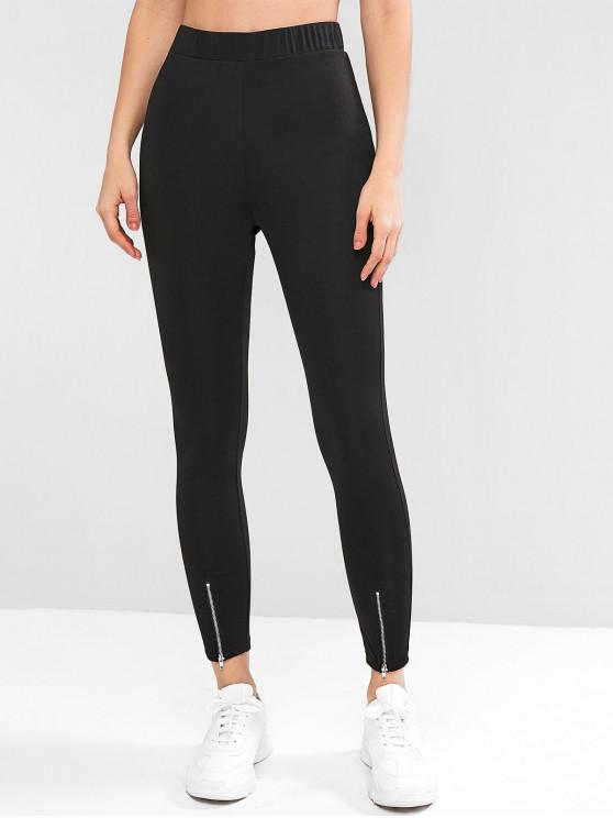 best ZAFUL Zipper Cuff High Waisted Skinny Leggings - BLACK S