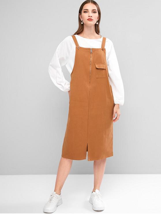 womens Zip Front Pocket Pinafore Dress - CARAMEL M