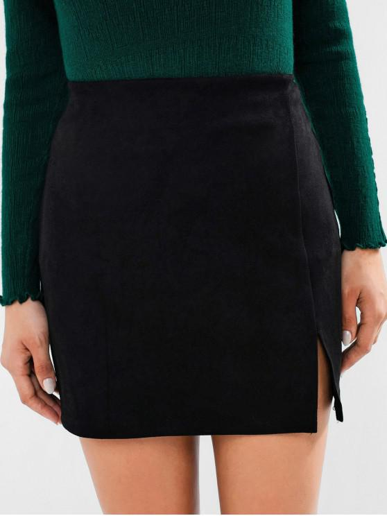 women ZAFUL Faux Suede Front Slit Bodycon Skirt - BLACK L