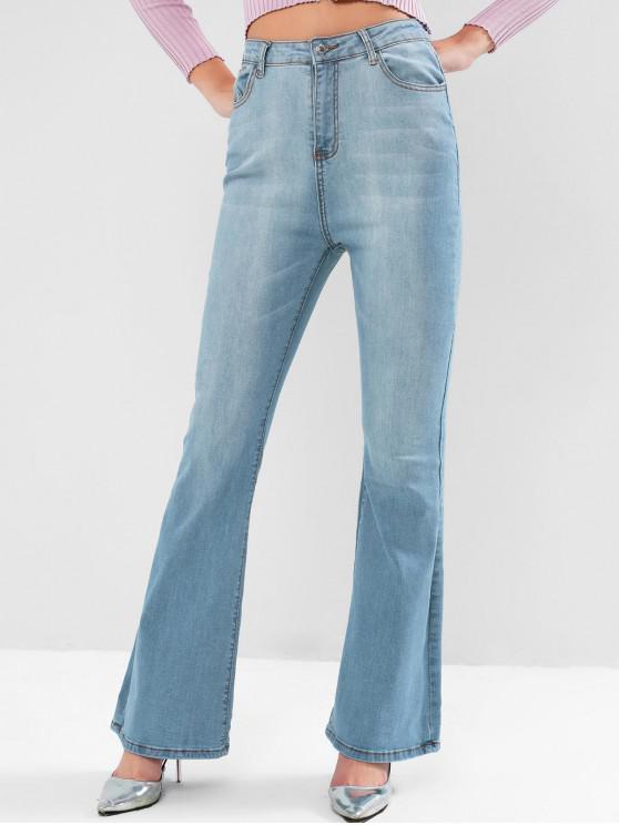 fancy Light Wash High Rise Pocket Boot Cut Jeans - DENIM BLUE L