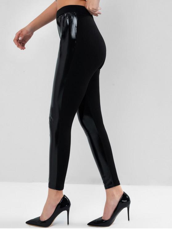 ladies ZAFUL PU Insert High Waisted Skinny Leggings - BLACK XL
