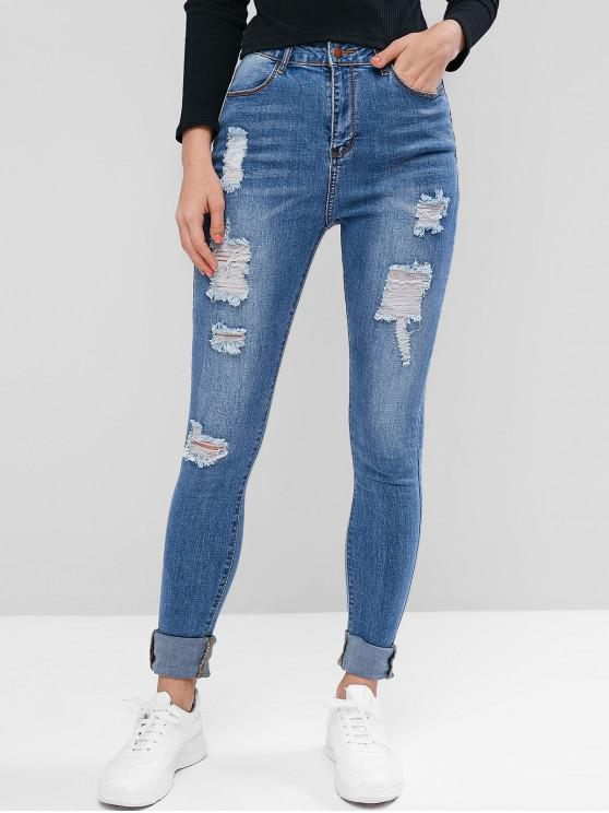 unique Ripped Skinny Jeans with Pockets - JEANS BLUE L