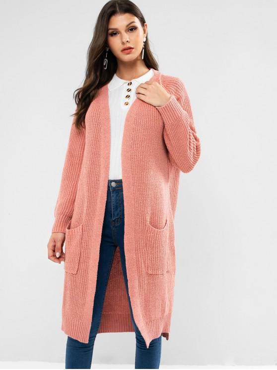 outfits Side Slit Longline Cardigan - PINK ONE SIZE