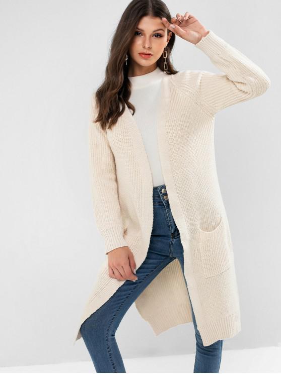 fashion Side Slit Longline Cardigan - WARM WHITE ONE SIZE
