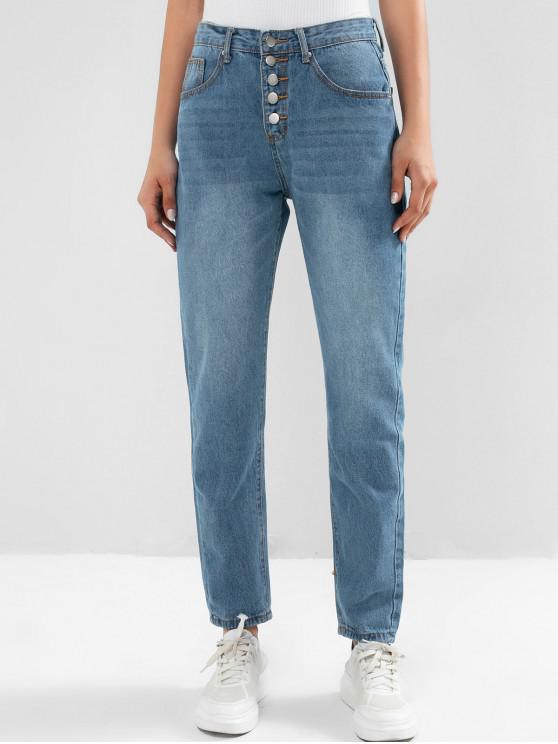 ladies Button Fly Pencil Boyfriend Mom Jeans - DENIM BLUE M