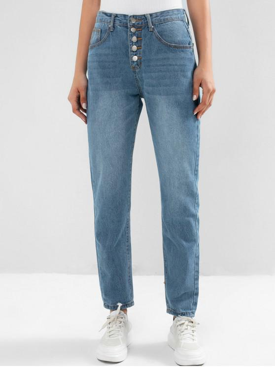 ladies Button Fly Pencil Boyfriend Mom Jeans - DENIM BLUE S