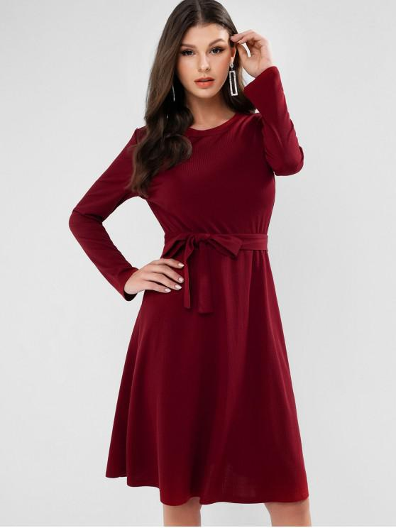 fashion Ribbed Long Sleeve Belted A Line Dress - RED XL