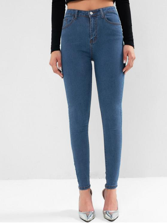fancy High Waisted Skinny Zip Fly Pocket Jeans - DENIM DARK BLUE M