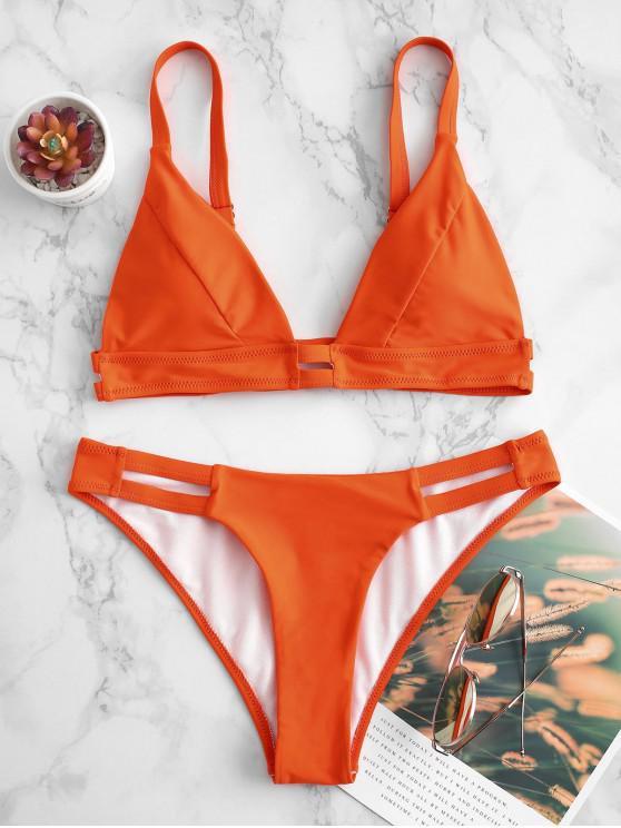 fashion ZAFUL Ladder Cutout Plunge Bikini Swimsuit - ORANGE L