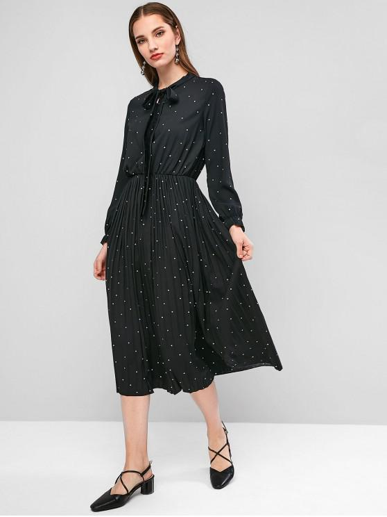 affordable Polka Dot Pleated Tie Neck Dress - BLACK 2XL
