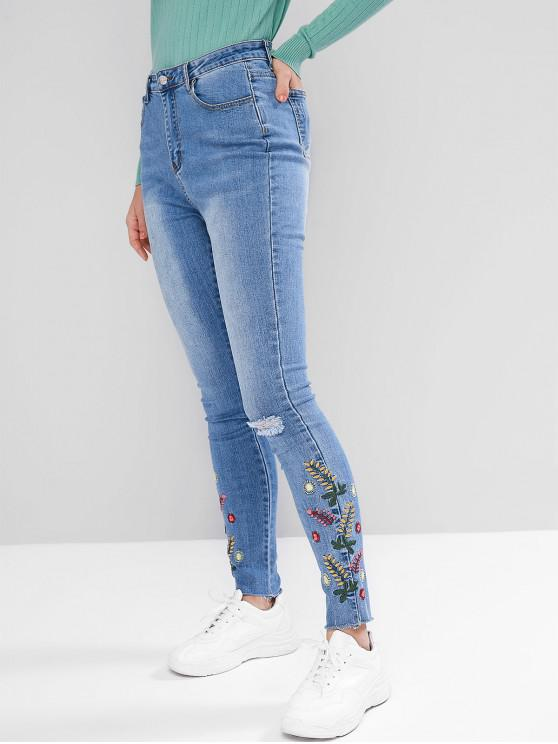 fancy Floral Embroidered Ripped Frayed Hem Jeans - JEANS BLUE S