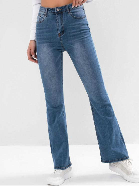 online High Waisted Pocket Boot Cut Jeans - DENIM BLUE M