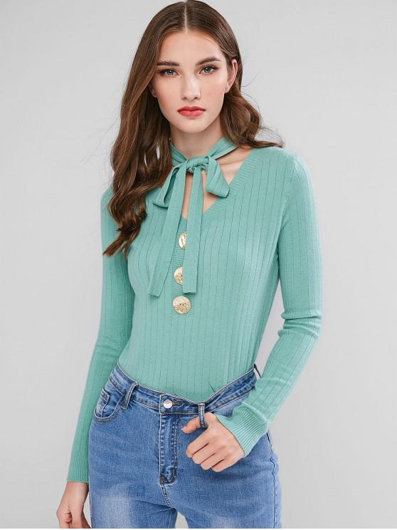 online Bow Tie V Neck Mock Button Sweater - SEA GREEN ONE SIZE