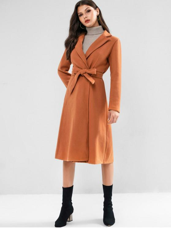 women ZAFUL Belted Turndown Collar Wrap Coat - BROWN S