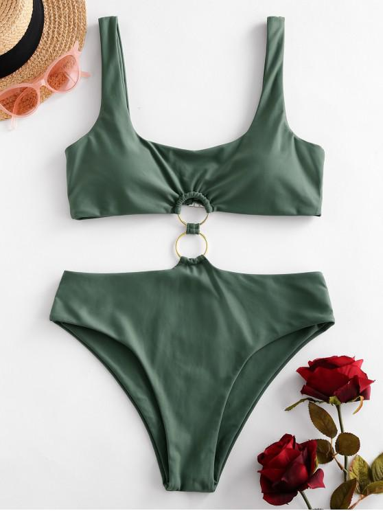 shops ZAFUL O Ring Scoop Neck Monokini Swimsuit - CAMOUFLAGE GREEN M