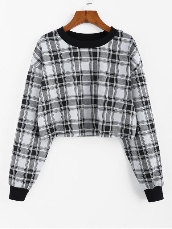 ZAFUL Decupată Plaid Sweatshirt - Grey Goose S