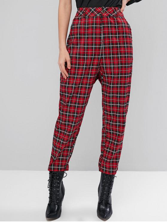 latest High Waisted Pockets Plaid Straight Pants - RED M