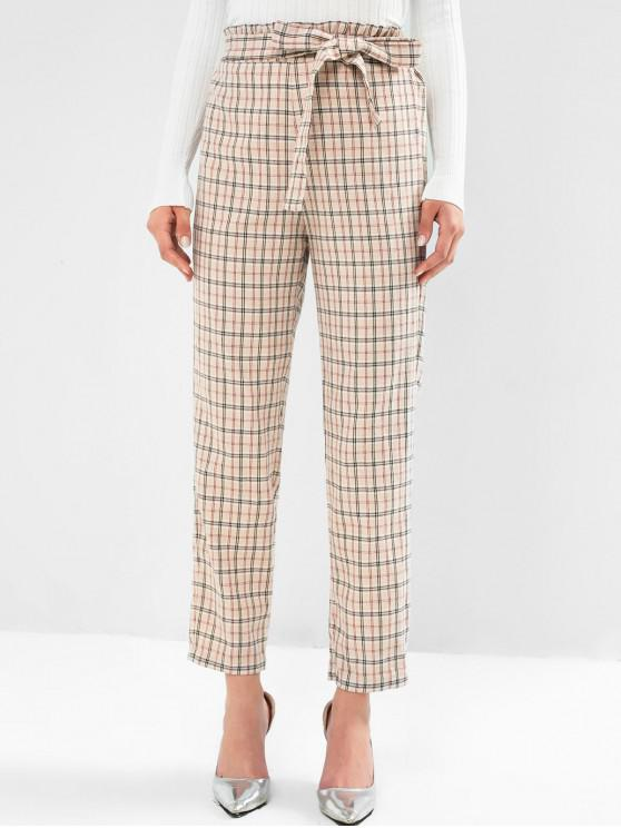 trendy ZAFUL Plaid Knotted Paperbag Pants - CAMEL BROWN S