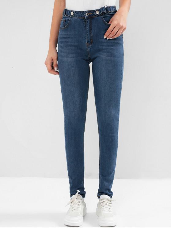 unique High Waisted Pocket Dark Wash Skinny Jeans - DENIM DARK BLUE M