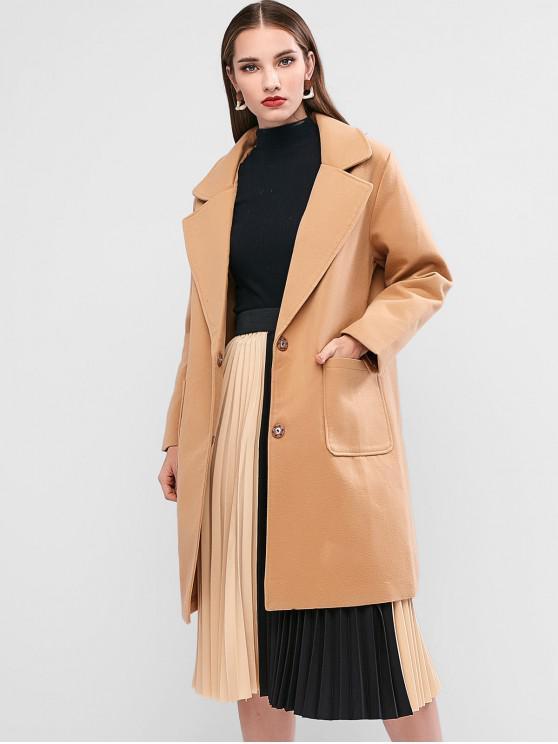 Manteau Long avec Poche en Laine Mélangée à Col Revers CAMEL BROWN BLACK