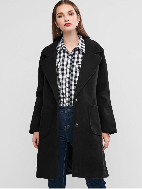 unique Wool Blend Lapel Pocket Longline Coat - BLACK M