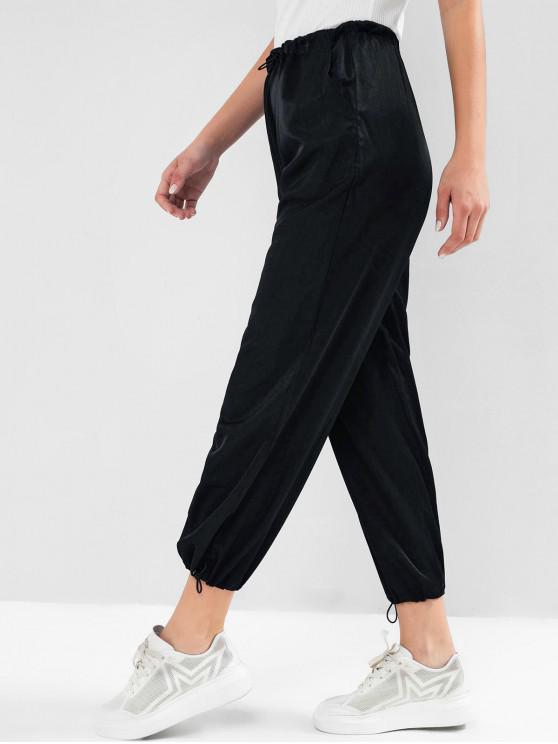 women's ZAFUL Drawstring Pockets High Waisted Jogger Pants - DEEP BLUE XL