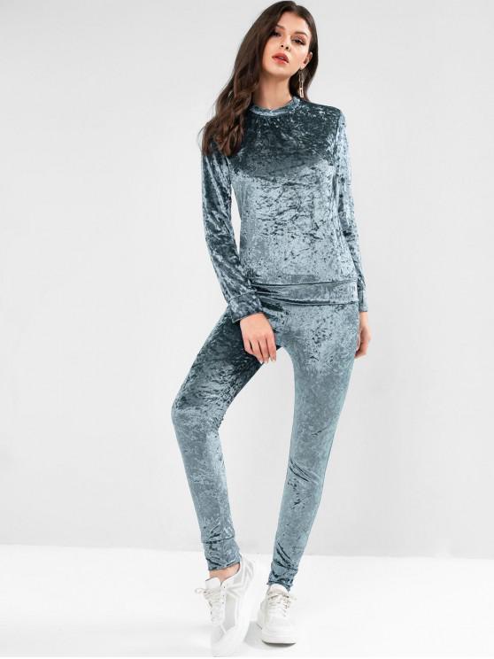 shops Crew Neck Velvet Pocket Two Piece Jogger Pants Set - PEACOCK BLUE M