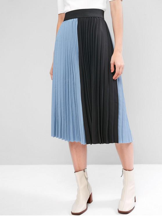 Colorblock plisată Midi Skirt - Albastru gri O marime
