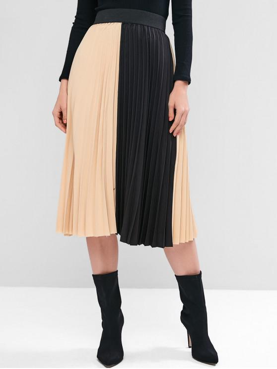 Colorblock plisată Midi Skirt - Ambalat cu migdale O marime