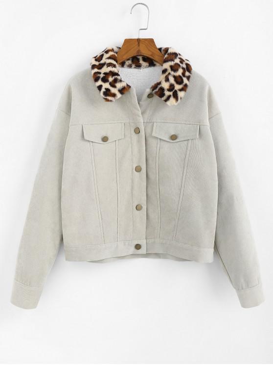 shops ZAFUL Corduroy Leopard Collar Faux Shearling Lined Jacket - LIGHT GREEN S