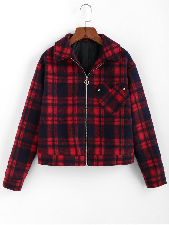 trendy ZAFUL Plaid Heart Pocket Pull Ring Zip Jacket - RED WINE L