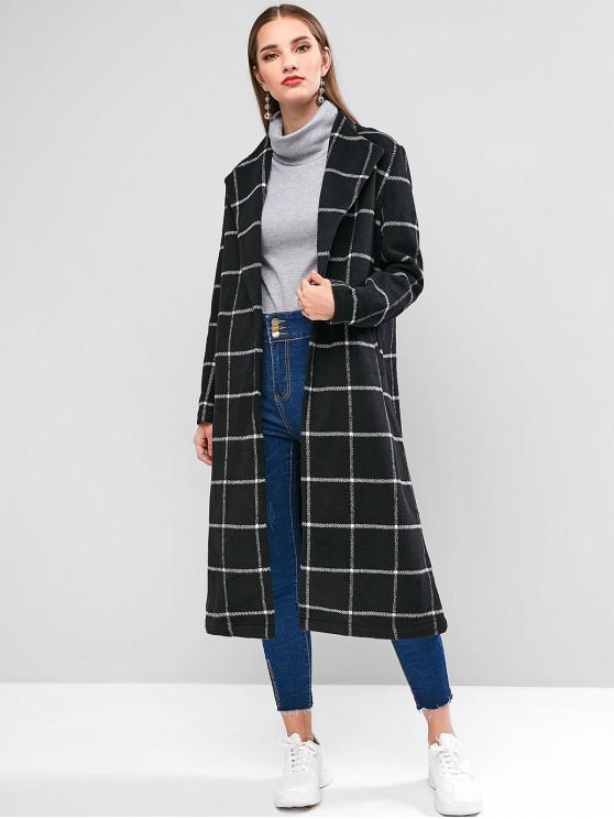 women's ZAFUL Plaid Open Front Longline Coat - BLACK S