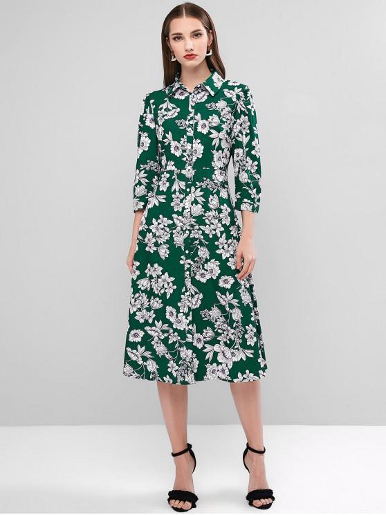 Robe Mi-Longue Fleurie Boutonnée - Vert profond M