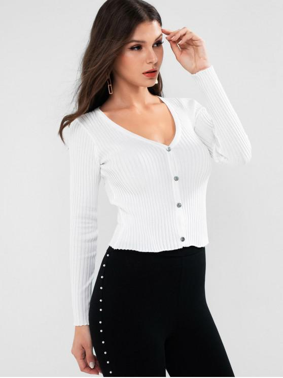 hot Single Breasted Ribbed Slim Knit Cardigan - WHITE ONE SIZE
