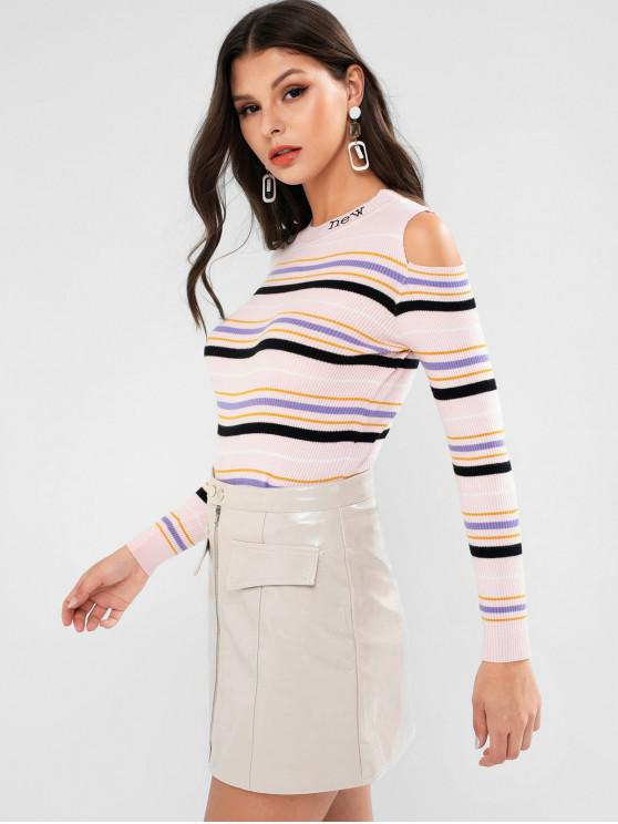 unique Striped Cold Shoulder Slim Ribbed Sweater - PINK ONE SIZE