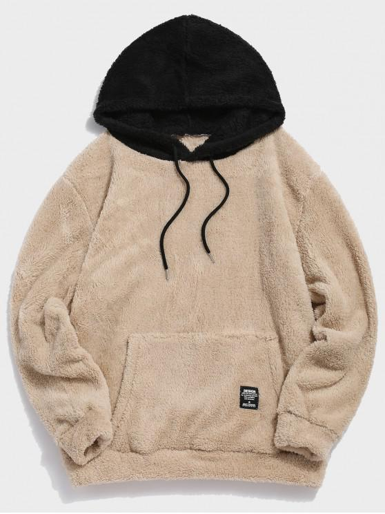 shop Colorblock Splicing Drawstring Fluffy Hoodie - LIGHT KHAKI L