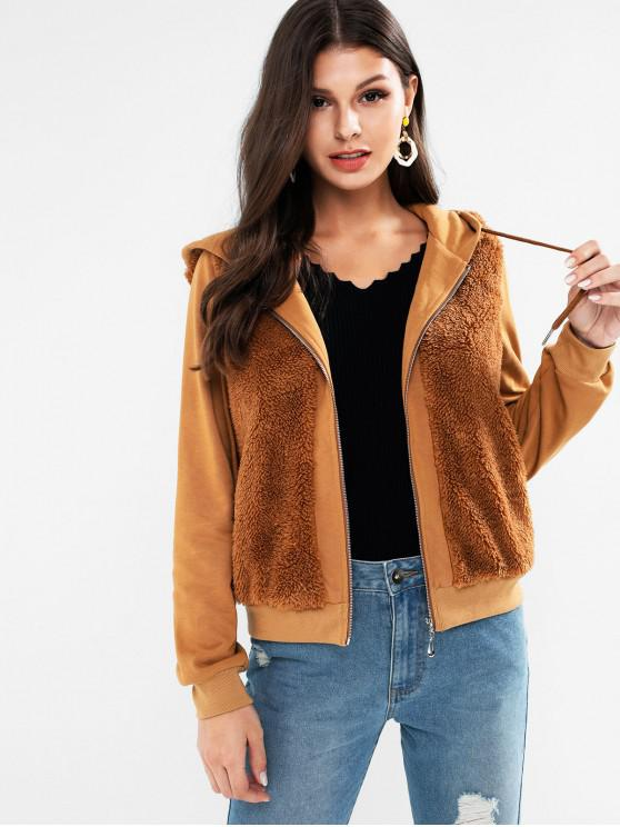 lady ZAFUL Faux Fur Insert Hooded Zip Up Jacket - CAMEL BROWN S