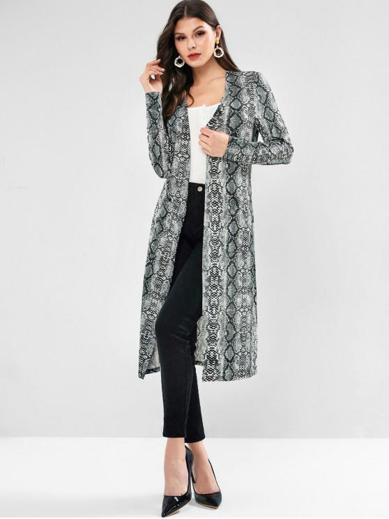 women's ZAFUL Snakeskin Print Pockets Belted Longline Coat - MULTI L