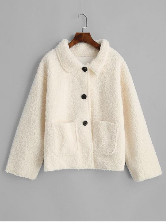women Patched Pockets Solid Button Up Teddy Jacket - WHITE L
