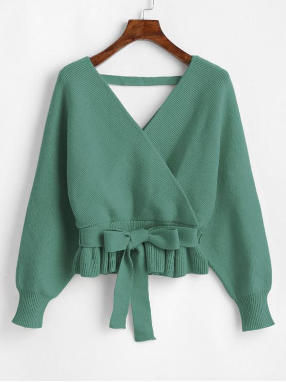 sale Plunging Batwing Sleeve Peplum Belted Sweater - GREEN ONE SIZE