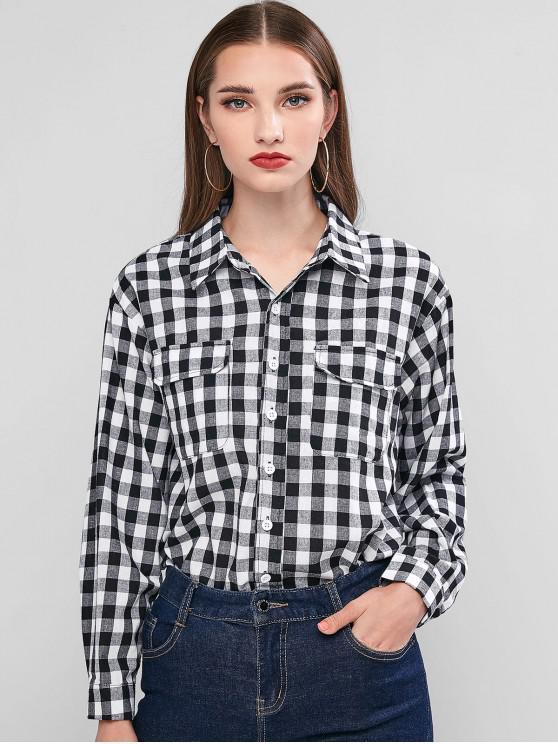 shop Plaid Button Up Chest Pocket Shirt - MULTI L