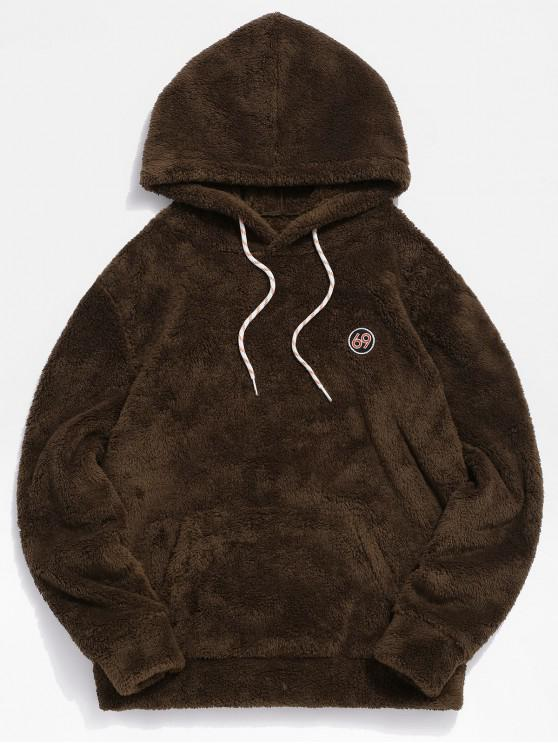 shops ZAFUL Figure Pattern Solid Fluffy Hoodie - BROWN S