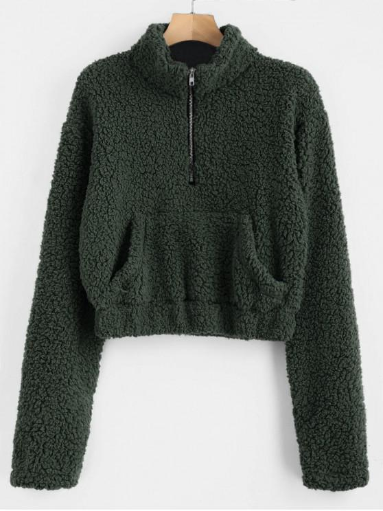 Sweat-shirt Fourré à Demi-Zip en Fausse Laine - Vert Armée  M