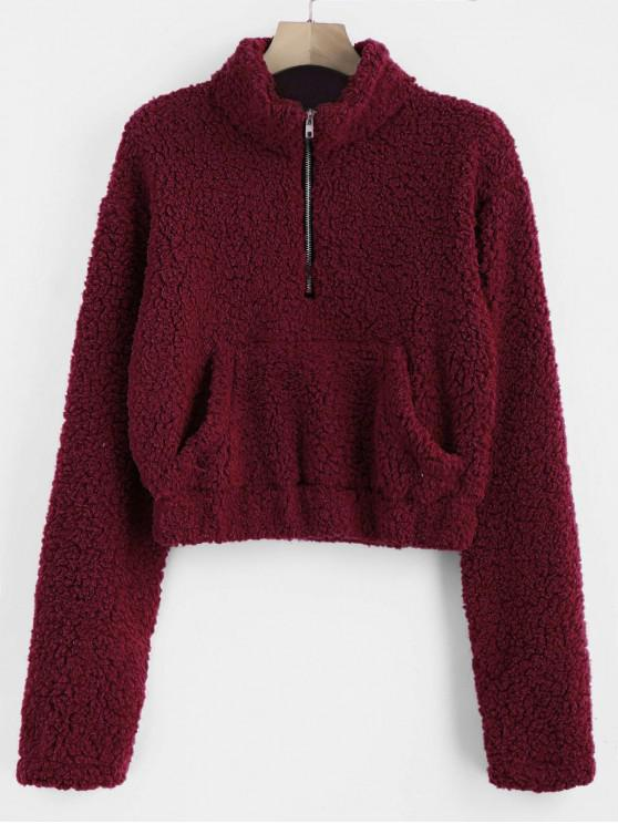 affordable Half Zip Fluffy Faux Shearling Teddy Sweatshirt - RED WINE S